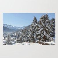 switzerland Area & Throw Rugs featuring Winter in Switzerland by Design Windmill