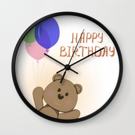 Happy birthday card with fun bear Wall Clock