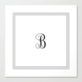 Monogram Letter B in Black with Triple Border Canvas Print