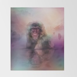 Macaque (Low Poly Multi II Snow Monkey) Throw Blanket