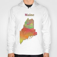 maine Hoodies featuring Maine Map by Roger Wedegis