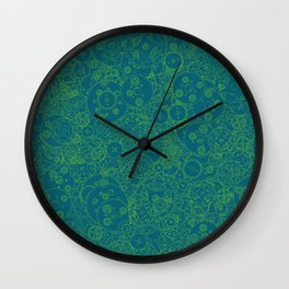 Clockwork Turquoise & Lime / Cogs and clockwork parts lineart pattern Wall Clock
