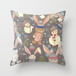 6)	Christmas cute illustration with bunny and snowmen. Winter design illustration Throw Pillow