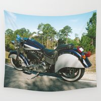 motorcycle Wall Tapestries featuring American Motorcycle by Malcolm Snook