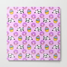 Cute funny Kawaii chibi little playful baby panda bears, happy sweet donuts and adorable yummy cupcakes light pastel pink pattern design. Nursery decor. Metal Print