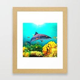 Shark in the water Framed Art Print