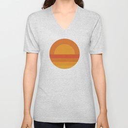 Retro Geometric Sunset Unisex V-Neck