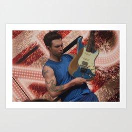 Adam Levine & his beloved guitar Art Print
