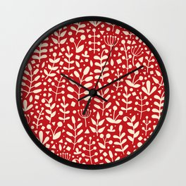 Red seamless pattern with hand drawn floral elements Wall Clock