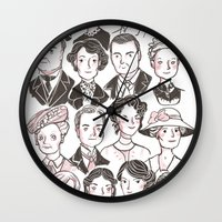 downton abbey Wall Clocks featuring Downton Abbey by giovanamedeiros