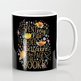 Folded Between the Pages of Books - Floral Black Coffee Mug
