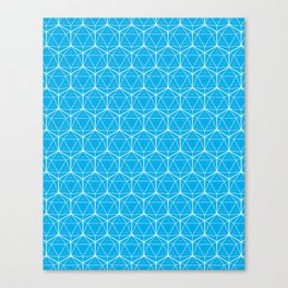Icosahedron Pattern Bright Blue Canvas Print