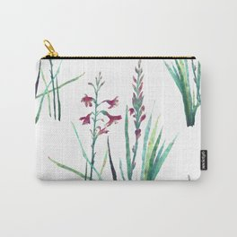 Festive Gouache Watercolor Watsonia Plant Carry-All Pouch