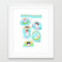 shinee Framed Art Prints featuring SHINee Flowers by sophillustration