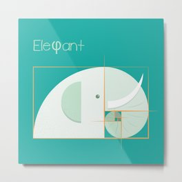 Golden ratio elephant Metal Print