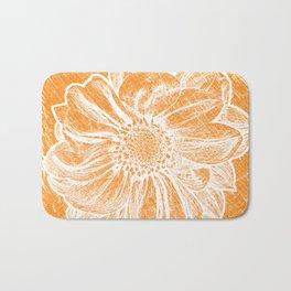White Flower On Warm Orange Crayon Bath Mat