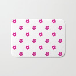 Hot Pink Ditsy Dot Flower Pattern Bath Mat