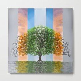 Digital painting of the seasons of the year in a tree Metal Print