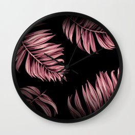 Rose Pink Palm Leaves Wall Clock