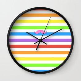 Pink Rainbow Mustache Madness! Wall Clock