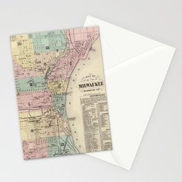 Vintage Map of Milwaukee Wisconsin (1878) Stationery Cards