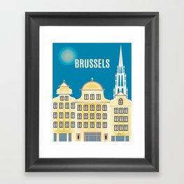 Brussels, Belgium - Skyline Illustration by Loose Petals Framed Art Print