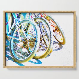 Bicycles Detail Colorful Wheels Serving Tray