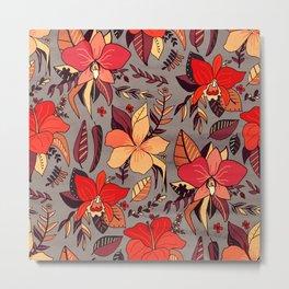 Red Tropical Floral Metal Print
