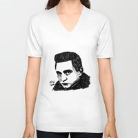johnny cash V-neck T-shirts featuring Johnny Cash by Feral Doe