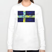 sweden Long Sleeve T-shirts featuring circuit board Sweden (Flag) by seb mcnulty