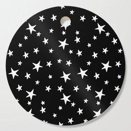 Stars - White on Black Cutting Board
