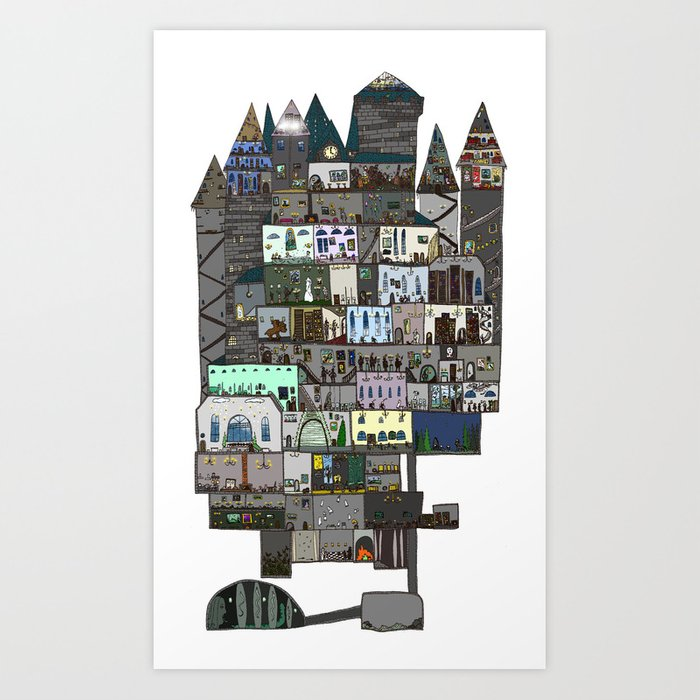 Hogwarts A Dollhouse Art Print By Klarasvedang Society6
