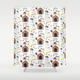 English Pointer Dog Half Drop Repeat Pattern Shower Curtain