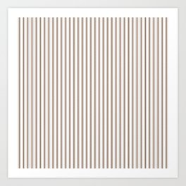 Mattress Ticking Narrow Striped Pattern in Chocolate Brown and White Art Print