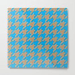 Houndstooth (Brown and Blue) Metal Print