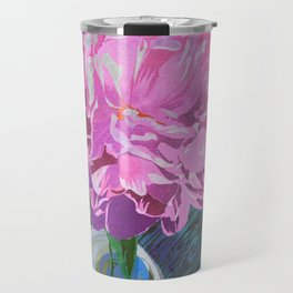 Single Pink Peony in a Ball Canning Jar Travel Mug