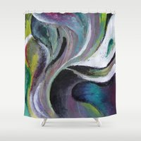 quibe Shower Curtains featuring Art print- swirl by Magdalena Hristova