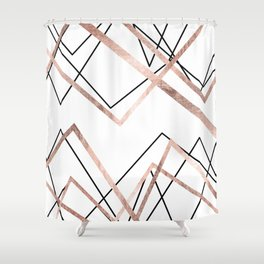 Rose Gold White Linear Triangle Abstract Pattern Shower Curtain