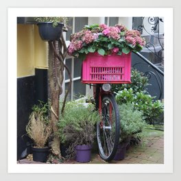 Pink Floral Bicycle in Amsterdam Art Print