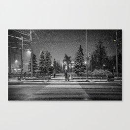 Snowy Street Crossing Canvas Print