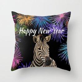 Wild Animal Zebra - Happy New Year fireworks  Throw Pillow