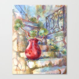 David's Europe 1 - Red French Pot Canvas Print