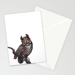 Great Horned Owl with Headphones Stationery Cards