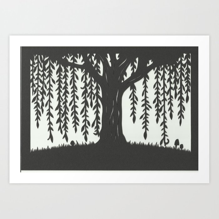 Woodland Willow Tree Silhouette Scene