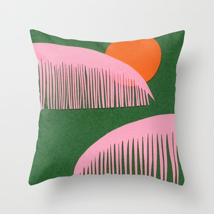 Pink Palms Throw Pillow