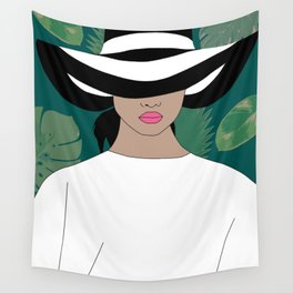 woman with a hat green Wall Tapestry