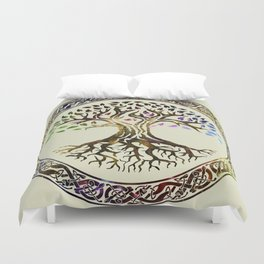 Tree of life  -Yggdrasil - Gold & Green  foil Duvet Cover