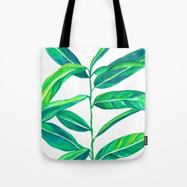Tropical Green Leaves Tote Bag
