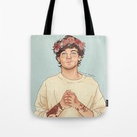 coconutwishes Tote Bags featuring Tommo Flower crown by Coconut Wishes