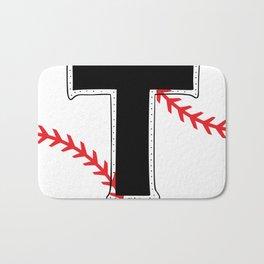 Baseball Monogram T Initial Bath Mat